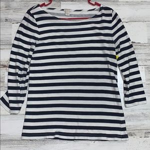 J Crew striped 3/4 sleeve navy white striped shirt